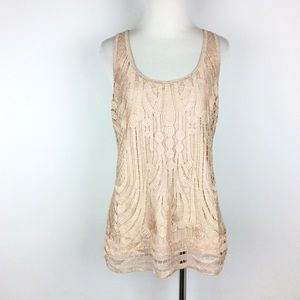 Express Scroll Lace Overlay Tank Top Size M